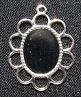 1910FN Cab Cameo Setting Bezel Frame Oval Silver ptd Flower, fits 10x8mm, 25 Qty