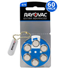 60 Rayovac Hearing Aid Batteries Size 675 Mercury Free +Holder/2 Extra Batteries