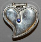 Vintage EUROPEAN Silver Plated Heart Shape Trinket Box WITH STONE