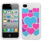 White Color Hearts Rubber SILICONE Gel Skin Case Cover for Apple iPhone 4 4S