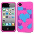 Pink Color Hearts Rubber SILICONE Soft Gel Skin Case Cover for Apple iPhone 4 4S