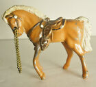 Vintage 50's Mini Palomino Chestnut White Western Saddle Horse Cast Metal Reins