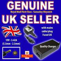 FOR 19V 3.42A RM Z91E AC ADAPTER LAPTOP MAIN CHARGER UK POWER CABLE H189