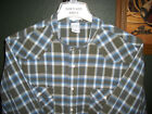 XL 17.5-34 BROWN BLUE WHITE SNAP BUTTONS PLAID BANDED COLLARLESS WESTERN SHIRT