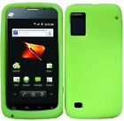 For ZTE Warp SILICONE Soft Rubber Gel Skin Case Phone Cover Accessory Neon Green