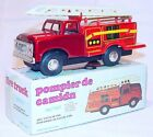 MF-163 China Ford FIRE ENGINE LADDER TRUCK Tin Friction Toy Car MIB`80 Nice!