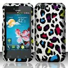 For T-Mobile LG myTouch Rubberized HARD Case Snap on Phone Cover Rainbow Leopard