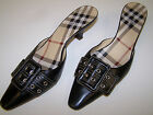 WOMAN'S BURBERRY BLACK LEATHER BUCKLE SLIP ON HEELS WORN ONCE SZ EUR 37 US 6.5