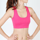 Women Cotton Exercise Yoga Workout cami Sports Bra Padded MN_HOT PINK