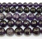 natural dark Amethyst round faceted gemstone Beads 15.5'' 4mm 6mm 8mm 10mm 12mm