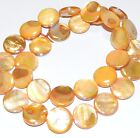 MP743f Apricot AB 13-14mm Round Coin Mother of Pearl Gemstone Shell Beads 15""