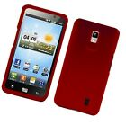 For LG Spectrum Rubberized HARD Protector Case Snap On Phone Cover Red