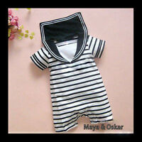 Baby Boy Sailor One Piece Romper Suit Grow Outfit Summer Marine Stripes 0-18m