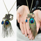 New Unique Blue Eyes Peacock Long Feather Gorgeous Necklace