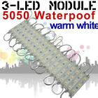 12V 5050 SMD 3-LED Module WARM WHITE 3200K Waterproof Light Boat Caravan Lamp