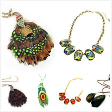 Vintage Art Deco style feather peacock necklace multiple choices