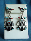 Vintage Sterling Silver Signed ALLISON DISHTA Inlay Thunder Bird Earrings Pawn