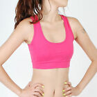Womens Cotton Exercise Yoga Workout cami Sports Bra Padded MN_HOT PINK