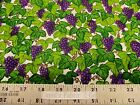 Troy Home Grown Granola Girl Debbie Field Grapes Vines White COTTON Fabric BTY