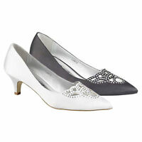 LADIES WEDDING SHOES WOMENS HEELS PROM SATIN BRIDAL BRIDESMAID COURT SHOES SIZE