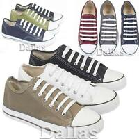 MENS CANVAS SHOES BOYS CASUAL LACE UP PUMPS PLIMSOLES TRAINERS SHOES SIZE 6 -12