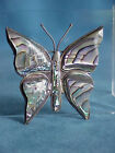 BIG Vintage Signed Mexican Sterling Silver Abalone Shell BUTTERFLY Brooch Pin