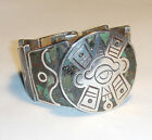 MID CENTURY Pre Eagle MEXICAN MODERNIST 925 Turquoise MOSAIC BRACELET Signed JYG