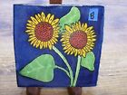 Hecho Mexico Mexican Sunflower Yellow Flower Blue Ceramic Tile B Terra Cotta