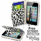 LEOPARD BOOK WALLET LEATHER FLIP CASE COVER FOR IPOD TOUCH 4 4TH GEN