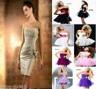 Amazing Stock Champagne Satin Mini Party Dress Evening Gown 6 8 10 12 14 16