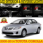 Toyota Corolla Sedan Ultra White LED SMD 12V Interior Light Bulb Package Set Kit