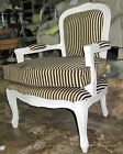 French Timber Chair cream with chocolate brown & cream fabric brand new