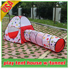 Polka Dot Design Children Kids Outdoor Pop Up Play Tent Dome House w/tunnel