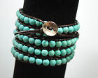 Beaded Wrap Bracelet on dark brown leather with blue turquoise beads