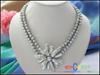 p3024 2row 8mm round gray pearl biwa pearl Weave flower necklace