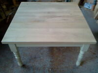 "BESPOKE HANDMADE OAK TABLE - DINING / KITCHEN 1 3/4"" THICK TOP"