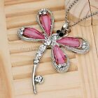 Silver Plated Crystal Rhinestone Dragonfly Pendant Pendulum for Necklace Jewelry