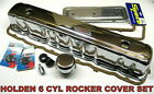 HOLDEN 6 CYL RED 161 179 186 202 ROCKER VALVE COVER SET INC CHROME SIDE PLATES