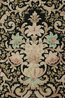 Antique French Art Nouveau Curtain panel drape LARGE black ground c 1890