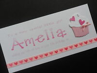 Personalised handmade girls birthday card 1st 2nd 3rd 4th 5th 6th 7th 8th 9th 10