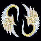Angel Wings Feathers Design Mother Of Pearl Organic Shell EAR Hook PLUGS NOG-163