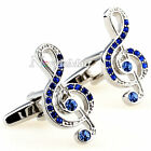 Silver Music Note with Blue Inlaid Crystals Cufflinks Shirt Suit Cuff Links