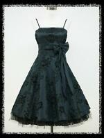 dress190 DARK BLUE 50s FLOCK TATTOO ROCKABILLY PROM PARTY COCKTAIL DRESS 8-26