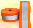 """REFLECTIVE MATERIAL FABRIC tape sew-on / 4 1/2"""" ANSI II - Safety Orange"""