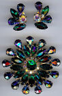 VINTAGE DIMENSIONAL GREEN & AB PURPLE BLUE RHINESTONE PIN & EARRING SET