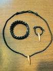 SNIPER HOG TOOTH & MINI HOG KEYCHAIN & SURVIVAL BRACELET BLACK PARACORD