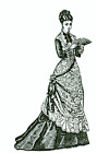 "1878 Afternoon Dress pattern antique French Fashion doll size 12""- 24"" #136"