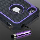 Black Purple Executive Armor iPhone 4 4S High Impact Hybrid Combo Hard Soft Case