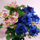 "20"" silk Flowers, 2 bushes 18 Open Roses Wedding Centrepiece Decoration Craft"