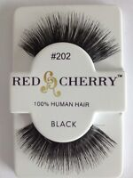 RED CHERRY FALSE EYELASHES 100% HUMAN HAIR STYLE #202 FULL CURLED LONG THICK!